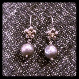 PANDORA RETIRED SILVER/GLD/DIAMOND PEARL EARRINGS